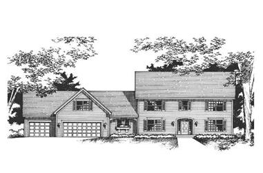 3-Bedroom, 2612 Sq Ft Colonial House Plan - 165-1016 - Front Exterior