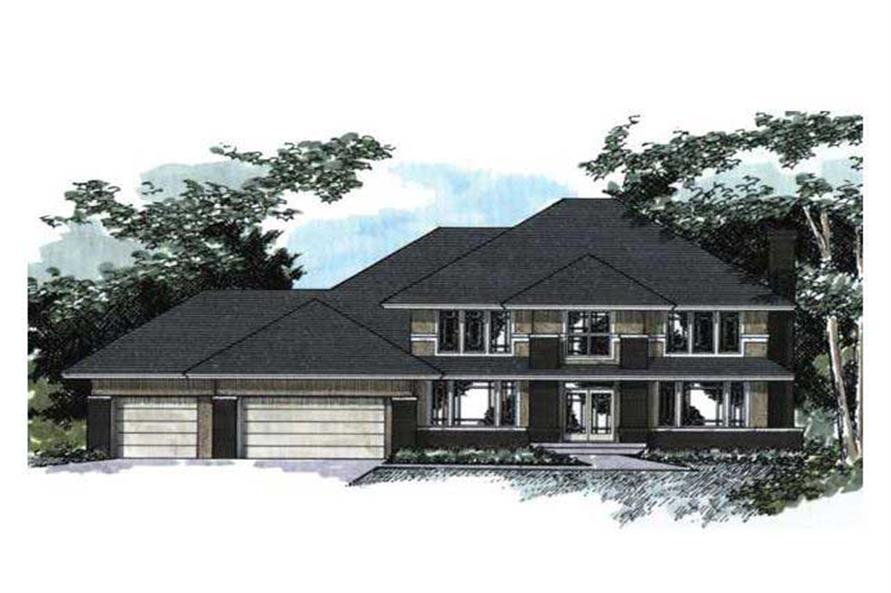 Colored rendering of European House Plans CLS-3400.