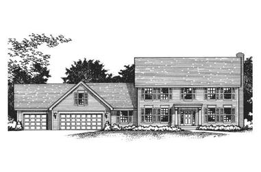 4-Bedroom, 2535 Sq Ft Colonial Home Plan - 165-1021 - Main Exterior