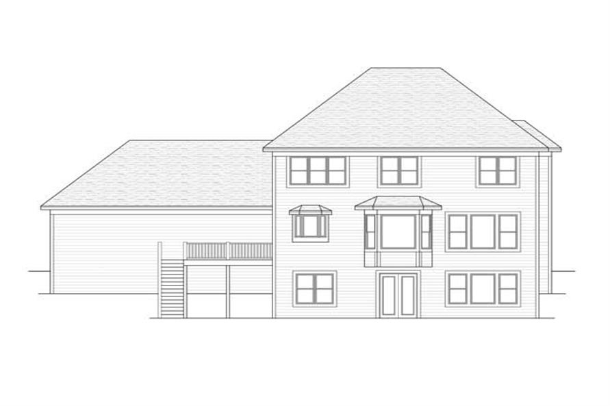 Home Plan Rear Elevation of this 3-Bedroom,2688 Sq Ft Plan -165-1023