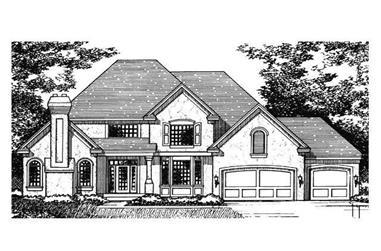 3-Bedroom, 3026 Sq Ft European House Plan - 165-1024 - Front Exterior