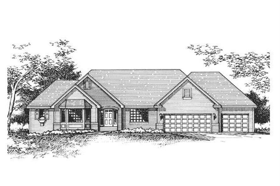Home Plan Front Elevation of this 5-Bedroom,3388 Sq Ft Plan -165-1026