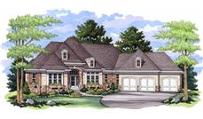 Luxury Homeplans CLS-4700 colored front elevation rendering.