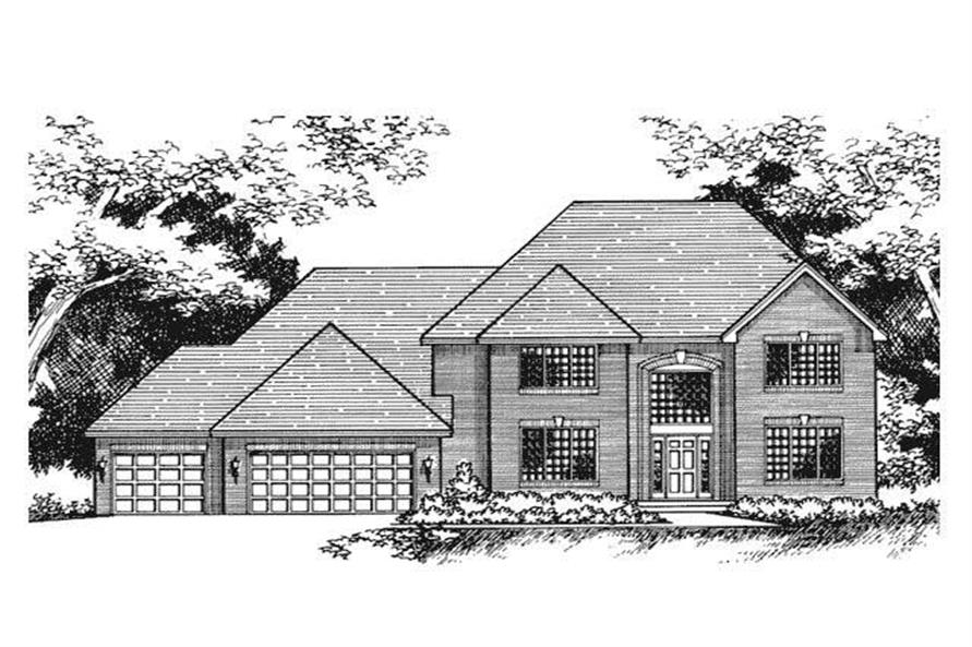 Home Plan Front Elevation of this 4-Bedroom,3252 Sq Ft Plan -165-1033