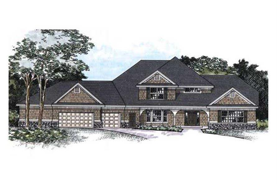 This image shows the Front Elevation of these Country Homeplans (CLS-3004).