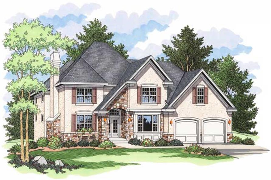 European Houseplans CLS-2507 colored front elevation.