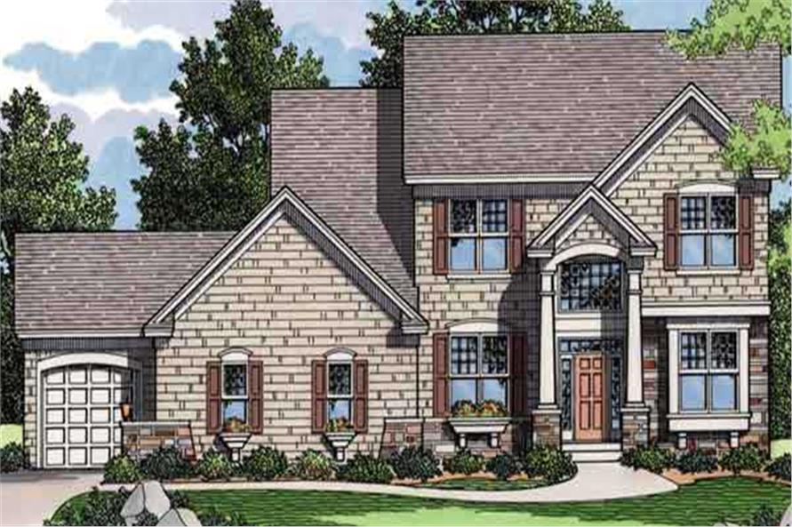 Colored Front Rendering of Traditional Houseplans CLS-2505.
