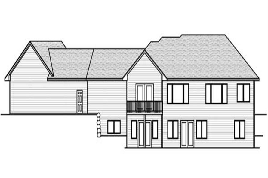 Home Plan Rear Elevation of this 4-Bedroom,4056 Sq Ft Plan -165-1050