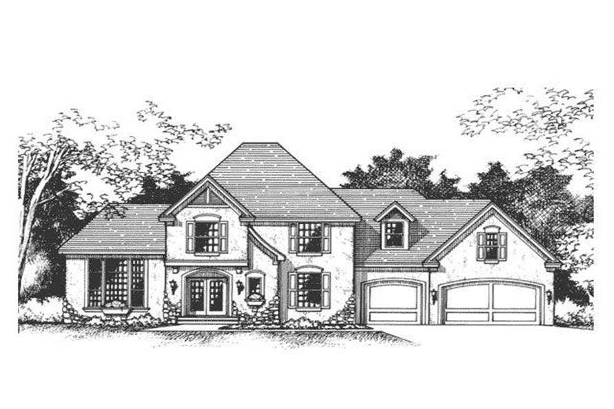 This image shows the front elevation of European Houseplans CLS-2600.