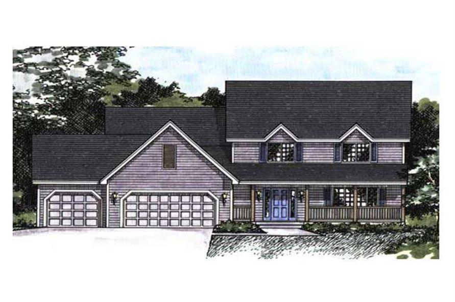 This image shows the front elevation for these Farmhouse Homeplans.