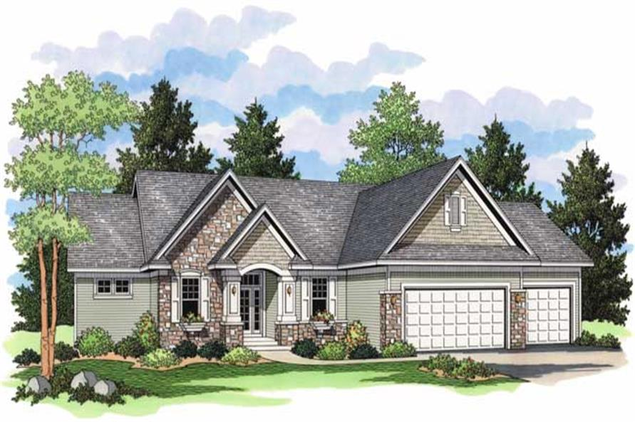 Country Homeplans CLS-3108 Colored Rendering.