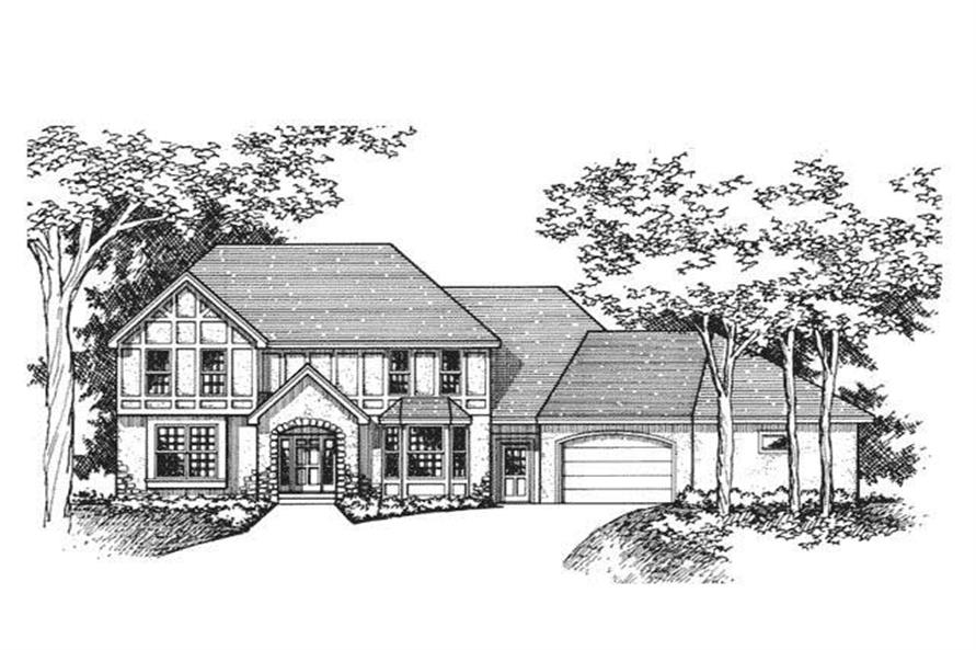 Front Elevation of Tudor House Plans CLS-2402.