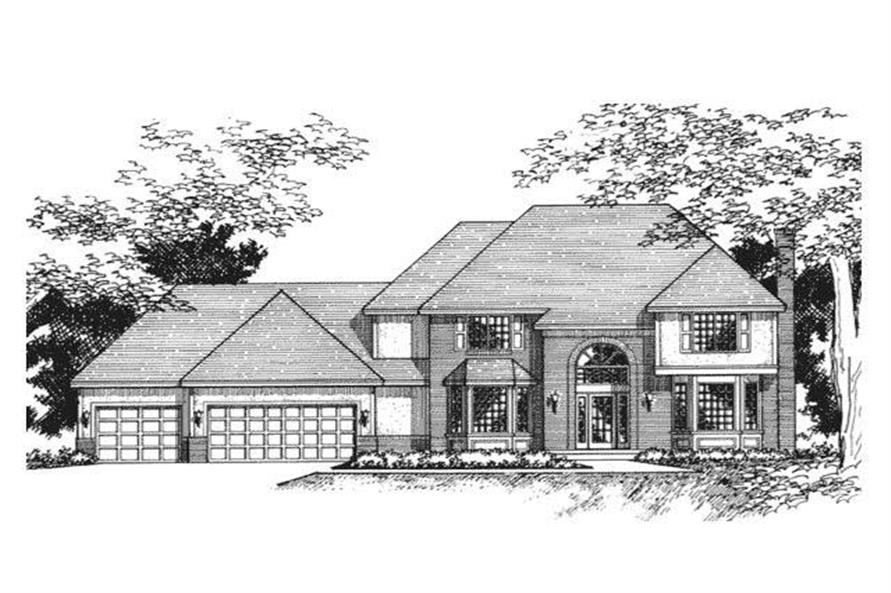 This image shows the front elevation of this set of European House Plans.