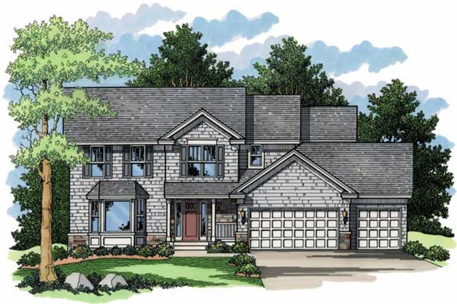 Country Houseplans CLS-2210 front elevation.