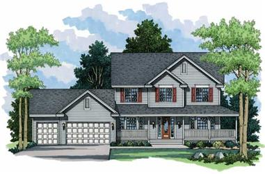 4-Bedroom, 2301 Sq Ft Country House Plan - 165-1064 - Front Exterior