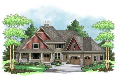 Colored rendering for country home plans CLS-4004.