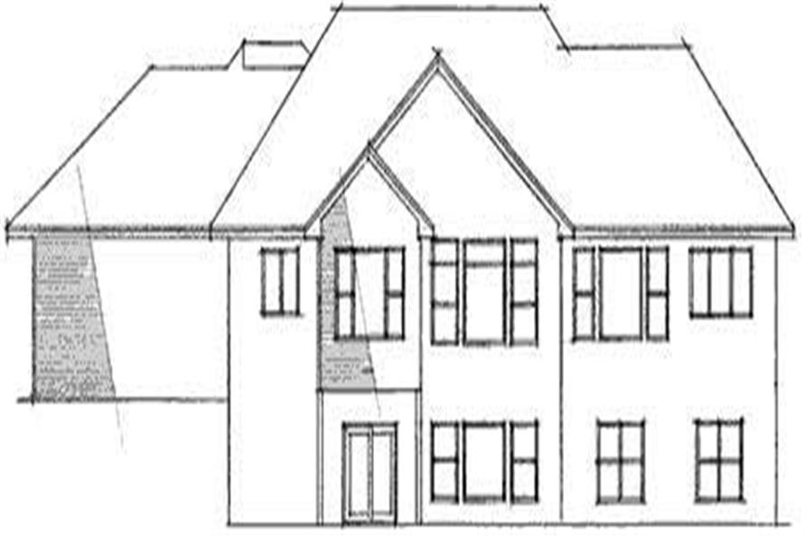 Home Plan Rear Elevation of this 4-Bedroom,3458 Sq Ft Plan -165-1066