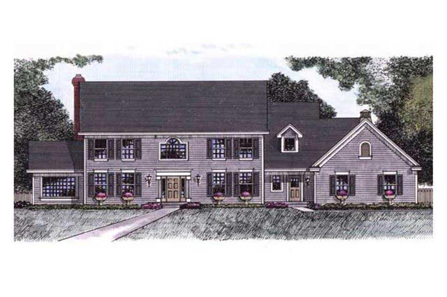This shows the Front elevation of these Colonial Houseplans.