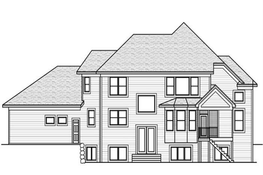 Home Plan Rear Elevation of this 2-Bedroom,2830 Sq Ft Plan -165-1075