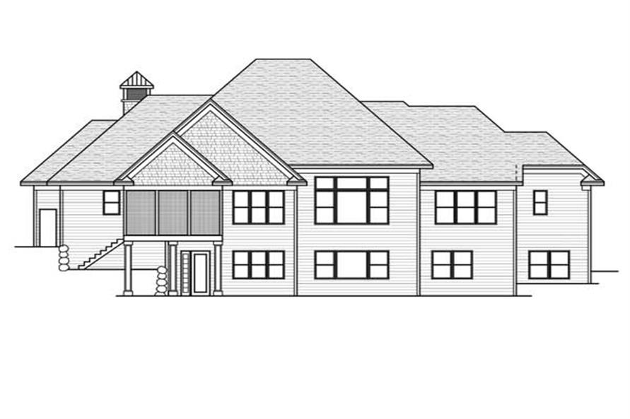 Home Plan Rear Elevation of this 4-Bedroom,4258 Sq Ft Plan -165-1076