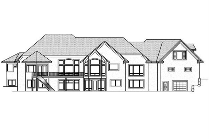 Home Plan Rear Elevation of this 5-Bedroom,6690 Sq Ft Plan -165-1077