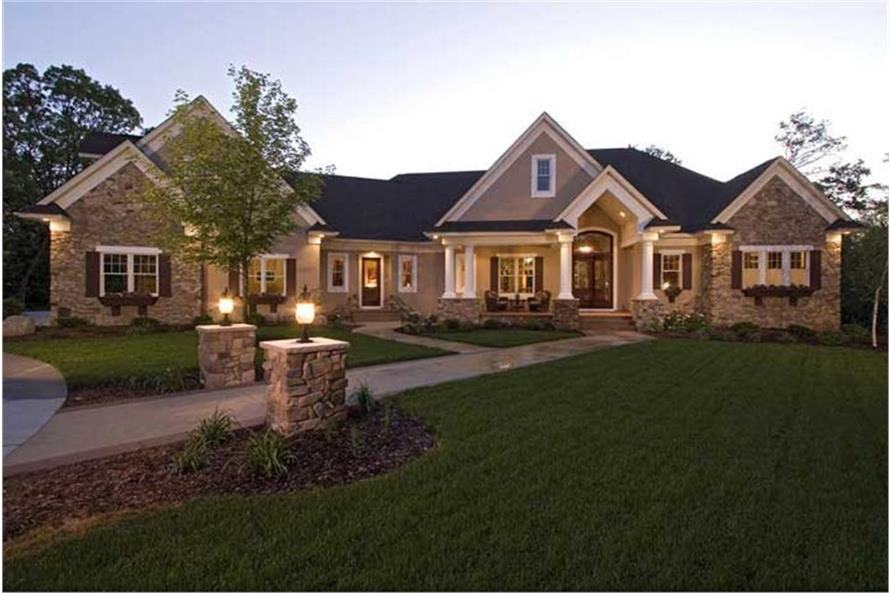 5-Bedroom, 6690 Sq Ft Country Home Plan - 165-1077 - Main Exterior