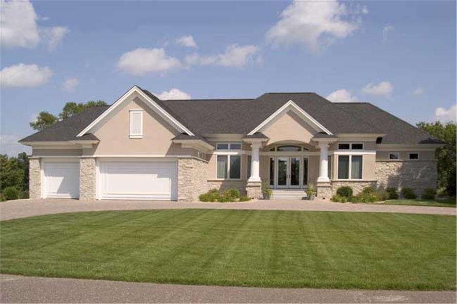 3-Bedroom, 3950 Sq Ft European House Plan - 165-1079 - Front Exterior