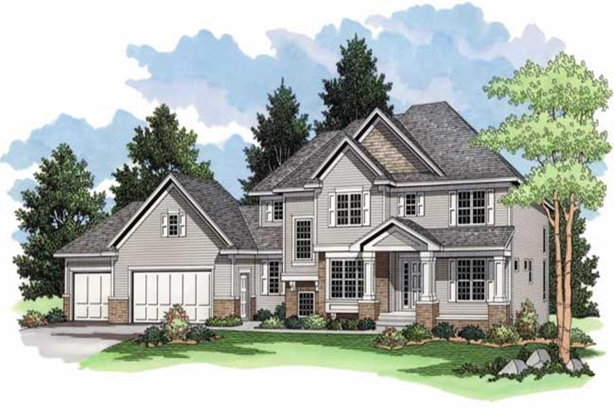 Country Home Plans CLS-3221 colored rendering.