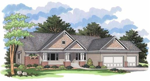 Ranch House Plans CLS-3703 front elevation.