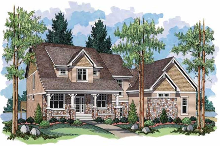 This image shows the colored front elevation of Country House Plans CLS-2706.