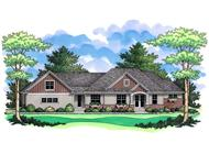 Front Colored Elevation For Ranch Home Plans CLS-2634.