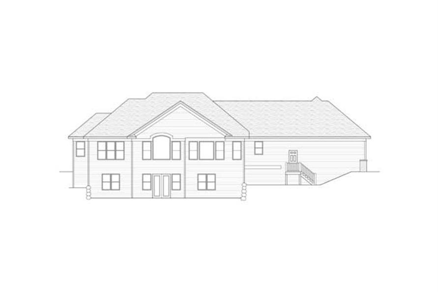 Home Plan Rear Elevation of this 3-Bedroom,2615 Sq Ft Plan -165-1087