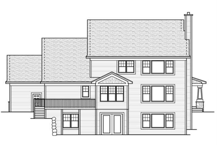 Home Plan Rear Elevation of this 3-Bedroom,3245 Sq Ft Plan -165-1089
