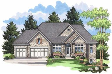 3-Bedroom, 3826 Sq Ft Country House Plan - 165-1092 - Front Exterior