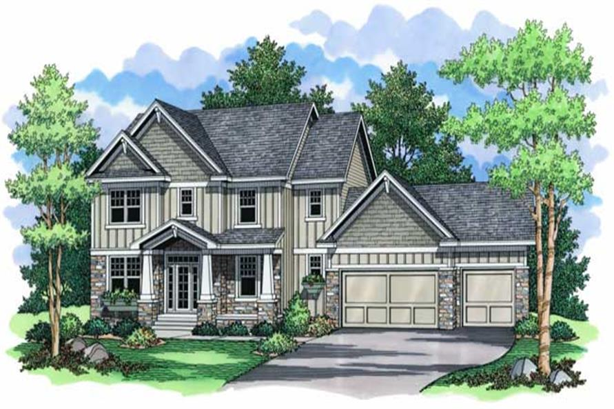 Colored Front Elevation for Country Homeplans CLS-2726.