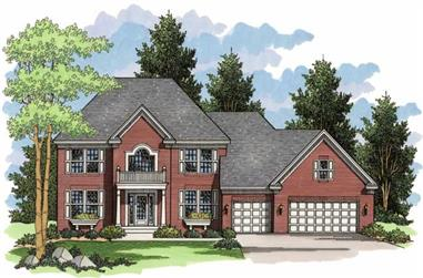 4-Bedroom, 2722 Sq Ft Colonial Home Plan - 165-1096 - Main Exterior