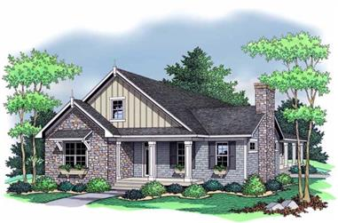 Bungalow Home Plans CLS-1809 Colored front rendering.