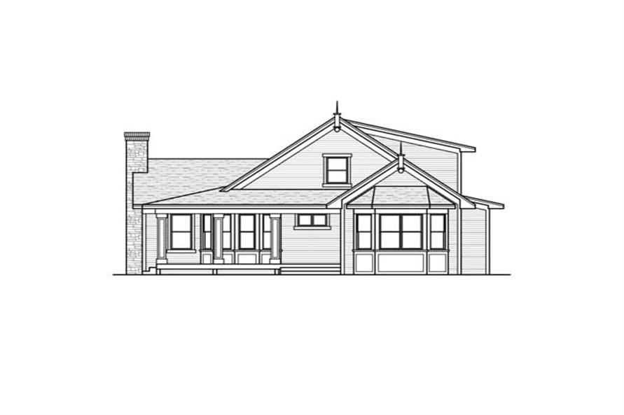 Home Plan Rear Elevation of this 3-Bedroom,1838 Sq Ft Plan -165-1101