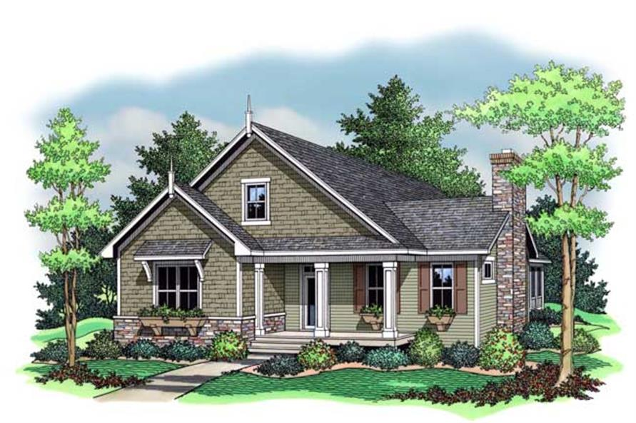 Colored front rendering for Bungalow Home Plans CLS-1501.