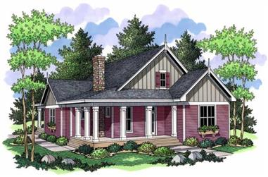 Country Homeplans CLS-1808 Colored Rendering.