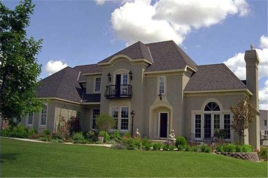 This image shows the front elevation of these European Houseplans.