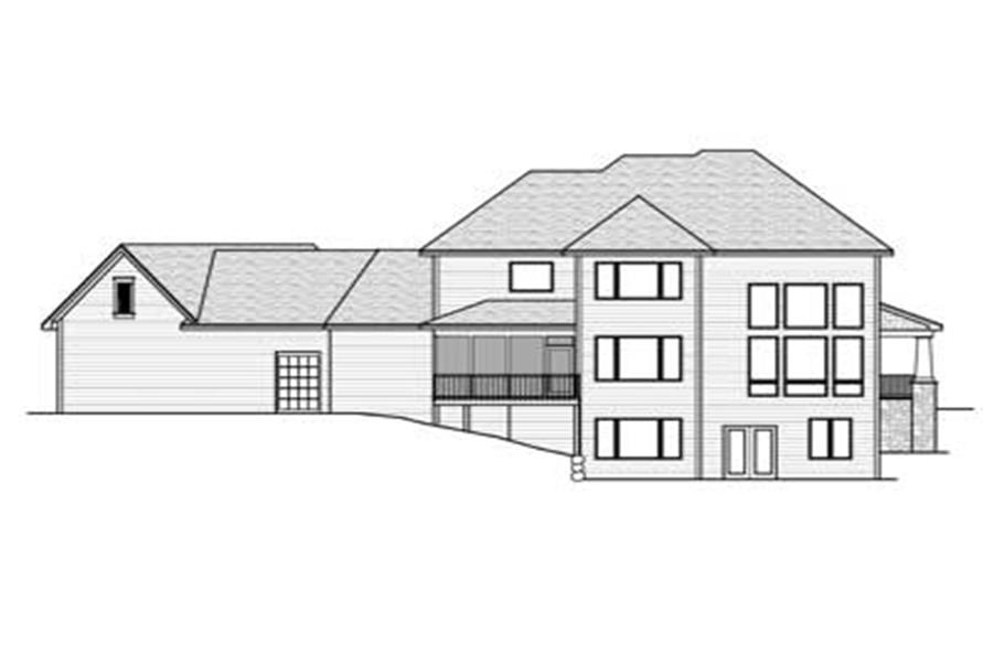 Home Plan Rear Elevation of this 3-Bedroom,3204 Sq Ft Plan -165-1107