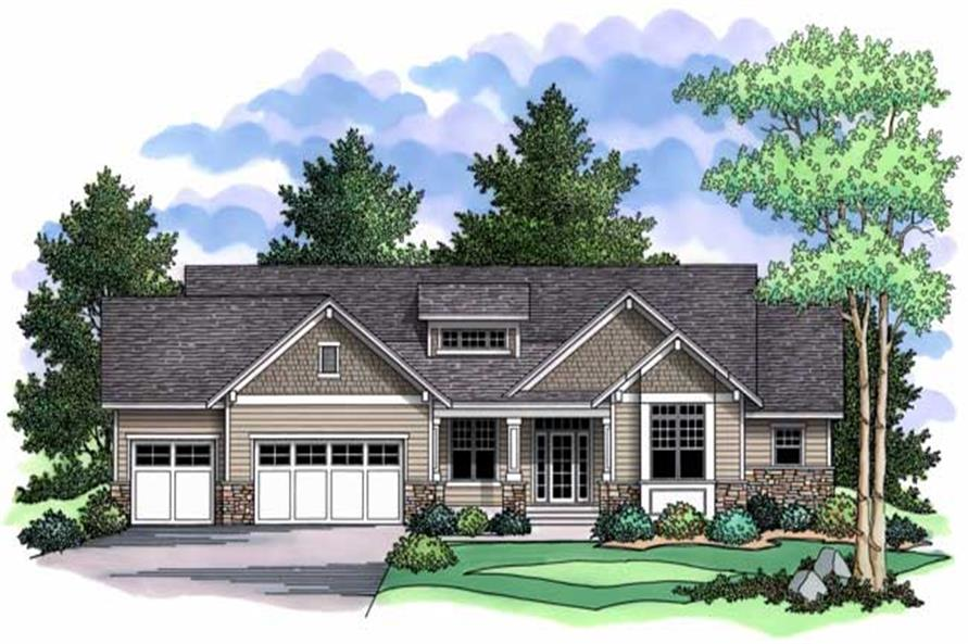1-Bedroom, 1918 Sq Ft Country House Plan - 165-1108 - Front Exterior