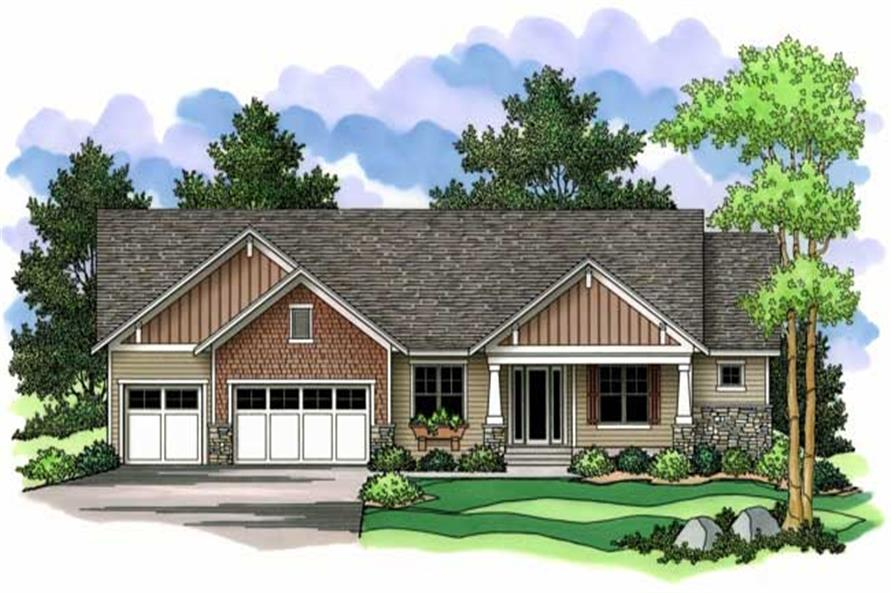 Ranch Homeplans CLS-2343 colored rendering.