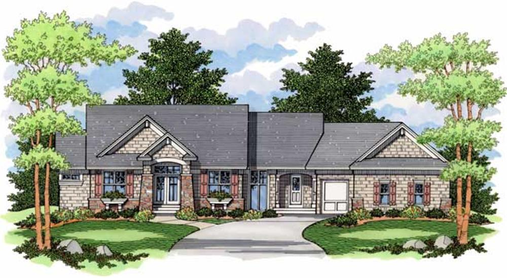 Ranch Homeplans CLS-2705 colored elevation.