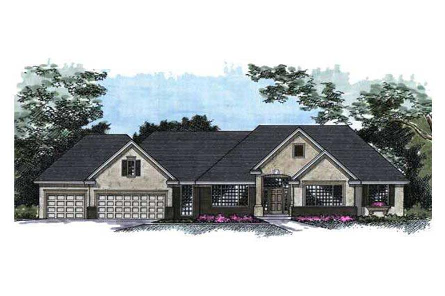 Shown is the front elevation for these Ranch House Plans.