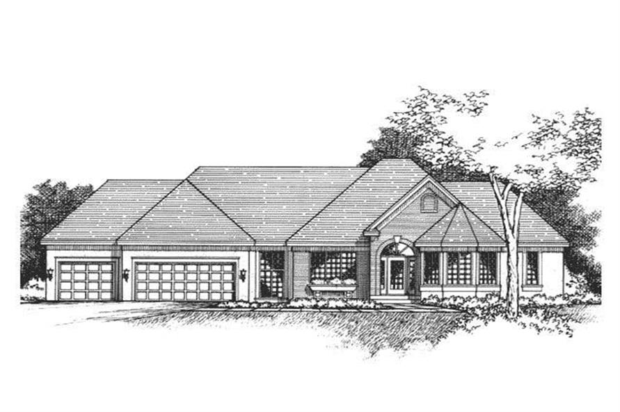 This image shows the front elevation of these Victorian House Plans.