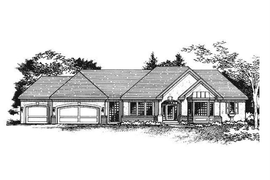 This image shows the front elevation for these Ranch Homeplans.