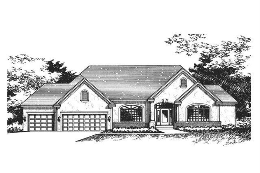This image shows the front elevation for Ranch Houseplans CLS-3604.