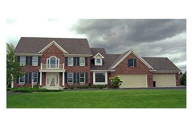 4-Bedroom, 3219 Sq Ft Colonial House Plan - 165-1121 - Front Exterior